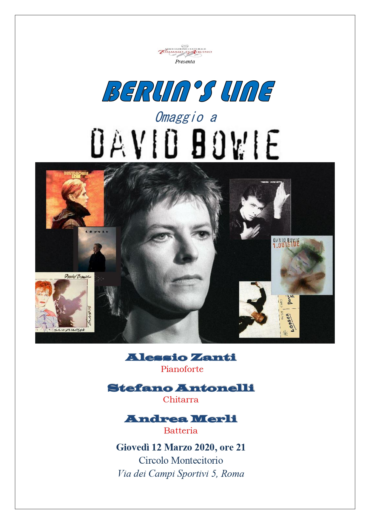 """You are currently viewing """"Berlin's Line"""": omaggio a David Bowie il 12 marzo a Roma"""